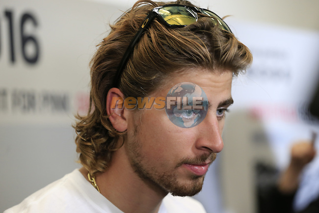Newly crowned World Champion Peter Sagan (SVK) talks to the media at the Giro d'Italia 2016 Presentation held at Expo Milano, Milan, Italy. 5th October 2015.<br /> Picture: Eoin Clarke | Newsfile