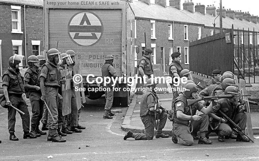 The Silver Jubilee visit of Queen Elizabeth II to N Ireland on 10th &amp; 11th August 1977 sparked serious rioting in Belfast as those opposed to the visit tried to reach the city centre. Here soldiers are ready to move into action if required. 197708100074e<br />