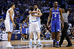 North Carolina Tar Heels guard Joel Berry II hugs forward Luke Maye after he hit a game winning shot against the Kentucky Wildcats during the 2017 NCAA Men's Basketball Tournament South Regional Elite 8 at FedExForum in Memphis, TN on Friday March 24, 2017. Photo by Michael Reaves | Staff
