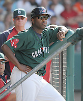 Manager Billy McMillon (51) of the Greenville Drive, Class A affiliate of the Boston Red Sox, in a game against the Charleston RiverDogs on May 15, 2011, at Fluor Field at the West End in Greenville, S.C. Photo by Tom Priddy / Four Seam Images