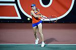 ATHENS, GA - MAY 23: Belinda Woolcock of the University of Florida returns a serve against Stanford University during the Division I Women's Tennis Championship held at the Dan Magill Tennis Complex on the University of Georgia campus on May 23, 2017 in Athens, Georgia. (Photo by Steve Nowland/NCAA Photos via Getty Images)