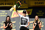 Geraint Thomas (WAL) Team Sky wins on Alpe d'Huez at the end of Stage 12 of the 2018 Tour de France running 175.5km from Bourg-Saint-Maurice les Arcs to Alpe D'Huez, France. 19th July 2018. <br /> Picture: ASO/Alex Broadway | Cyclefile<br /> All photos usage must carry mandatory copyright credit (&copy; Cyclefile | ASO/Alex Broadway)