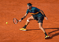 Paris, France, 3 june, 2019, Tennis, French Open, Juan Martin Del Potro (ARG) in action against  Karen Khachanov (RUS)<br /> Photo: Henk Koster/tennisimages.com