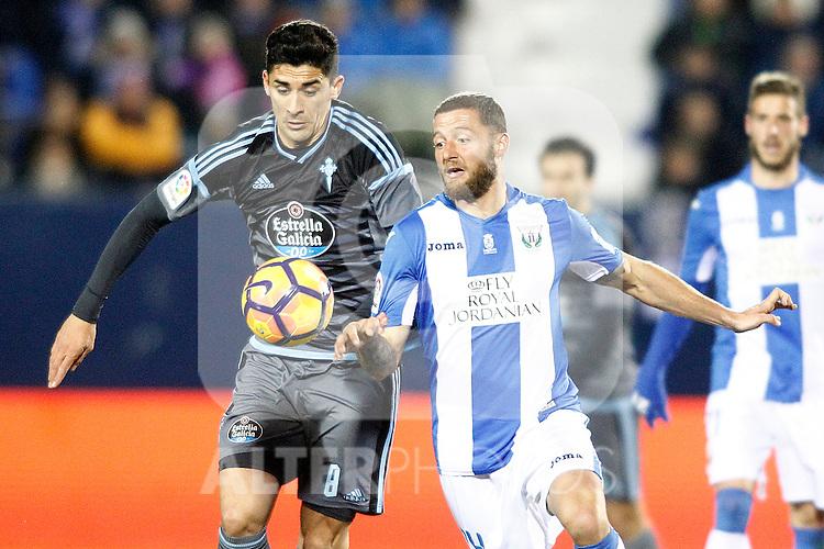 CD Leganes' David Timor (r) and Celta de Vigo's Pedro Pablo Hernandez during La Liga match. January 28,2017. (ALTERPHOTOS/Acero)