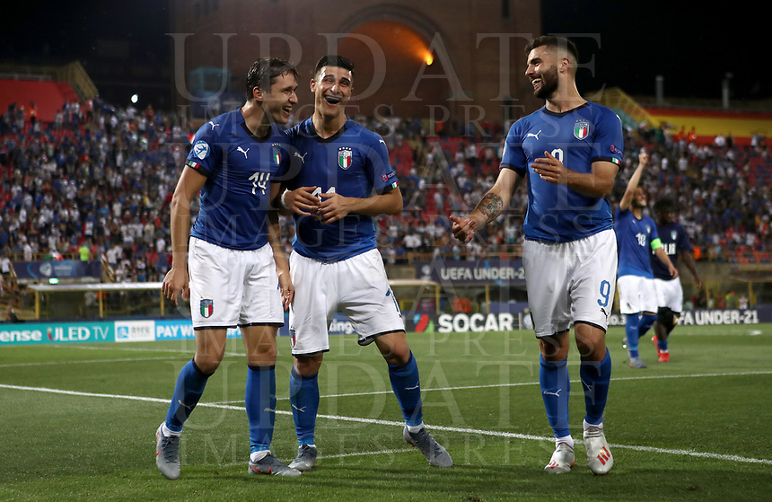 Football: Uefa European under 21 Championship 2019, Italy - Spain Renato Dall'Ara stadium Bologna Italy on June16, 2019.<br /> Italy's Federico Chiesa (l) Riccarco Orsolini (c) and Patrick Cutrone (r) celebrate after winning 3-1 the Uefa European under 21 Championship 2019 football match between Italy and Spain at Renato Dall'Ara stadium in Bologna, Italy on June16, 2019.<br /> UPDATE IMAGES PRESS/Isabella Bonotto