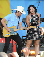 NEW YORK, NY - June 24 : Brad Paisley is joined by Demi Lovato in Central Field at Rumsey Playfield as part of the Good Morning America Summer Concert Series on June 24 in New York City .  Photo Credit:John Palmer/ Media Punch