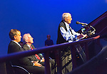 Oct 4, 2012 - GARDEN CITY, NEW YORK U.S. - (L - R) ROBIN HAYES, JetBlue EVP; NY State Senator KEMP HANNON; and, speaking at podium, Mercury astronaut SCOTT CARPENTER are at the museum's new JetBlue Sky Theater Planetarium. Nassau County students asked Carpenter questions after he spoke. The planetarium, a state-of-the-art digital projection system, officially opens this weekend.