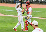 MIDDLETOWN, CT. 06 June 2018-060618BS582 Wolcott's Dane Hassan (3) celebrates with teammate Jeffrey Nicol (11) after Wolcott beat Ledyard 9-4 and advances to play in the title game for the Class M championship this weekend at Palmer Field on Wednesday afternoon. Bill Shettle Republican-American