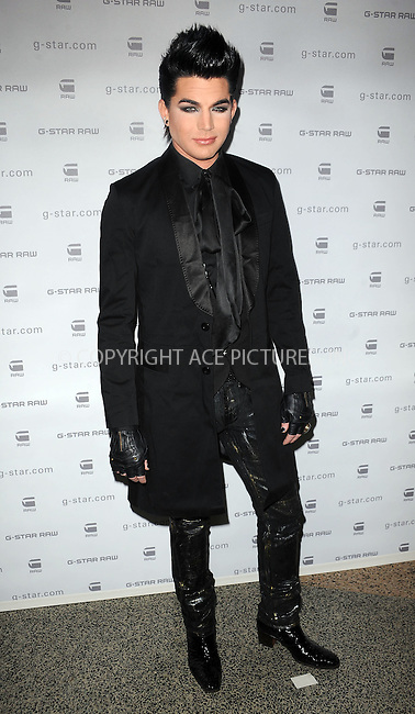 WWW.ACEPIXS.COM . . . . . ....February 16 2010, New York City....Singer Adam Lambert backstage at the G-Star Raw Presents NY Raw Fall/Winter 2010 Collection at the  Hammerstein Ballroom on February 16, 2010 in New YorkCity.....Please byline: KRISTIN CALLAHAN - ACEPIXS.COM.. . . . . . ..Ace Pictures, Inc:  ..(212) 243-8787 or (646) 679 0430..e-mail: picturedesk@acepixs.com..web: http://www.acepixs.com