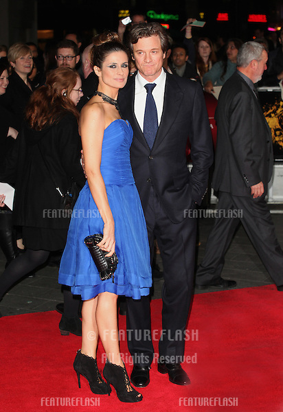 Colin Firth and Livia Giuggioli (Livia Firth) arriving the Premiere of 'Crossfire Hurricane' during the 56th BFI London Film Festival at Odeon Leicester Square, London. 18/10/2012 Picture by: Alexandra Glen / Featureflash