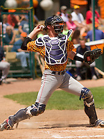 GREEN BAY - June 2015: Kenosha Kingfish catcher Alex Dunlap (50) during a Northwoods League game against the Green Bay Bullfrogs on June 21st, 2015 at Joannes Park in Green Bay, Wisconsin. Green Bay defeated Kenosha 10-7. (Brad Krause/Krause Sports Photography)