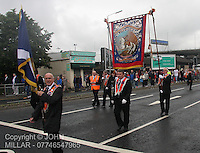 Kinning Park True Blues Lodge with Govan District returning from the County Grand Orange Lodge of  Glasgow Parade 2012 which took place in Glasgow on 7.7.12..