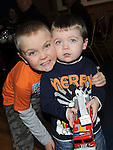 Ben and Tadhg Rooney who visited Santa when he came to St Mary's GAA club in Ardee. Photo: Colin Bell/pressphotos.ie