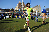 Marland Yarde of Sale Sharks runs onto the field. Aviva Premiership match, between Bath Rugby and Sale Sharks on February 24, 2018 at the Recreation Ground in Bath, England. Photo by: Patrick Khachfe / Onside Images