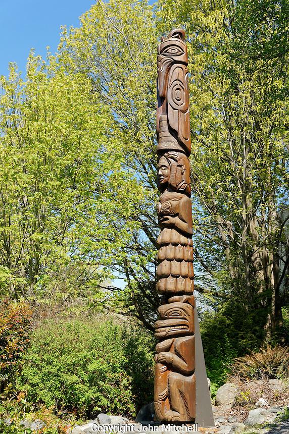 Salmon Woman Totem pole, Maritime Heritage Park, Bellingham, Washington state, USA