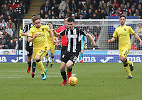 Lewis Morgan getting away from Scott Pittman in the St Mirren v Livingston Scottish Professional Football League Ladbrokes Championship match played at the Paisley 2021 Stadium, Paisley on 14.4.18.