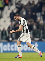 Calcio, Serie A: Juventus vs Roma. Torino, Juventus Stadium,17 dicembre 2016. <br /> Juventus&rsquo; Giorgio Chiellini celebrates at the end of the Italian Serie A football match between Juventus and Roma at Turin's Juventus Stadium, 17 December 2016. Juventus won 1-0.<br /> UPDATE IMAGES PRESS/Isabella Bonotto