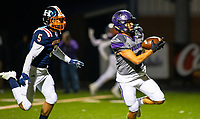 Fayetteville wide receiver Connor Flannigan (2) on his way to score a touchdown after a long pass from Hank Gibbs against Rogers Heritage defensive back, Isaiah Tibbs (5) at Gates Stadium, Rogers, AR on November 1, 2019 / Special to NWA Democrat Gazette David Beach