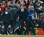Jose Mourinho manager of Manchester United shakes hands with Antonio Conte manager of Chelsea during the English Premier League match at Old Trafford Stadium, Manchester. Picture date: April 16th 2017. Pic credit should read: Simon Bellis/Sportimage