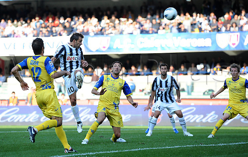 16 10 2011  Goal is cscored for Juventus by Alessandro DEL Piero Juventus. Verona  Stadio Marcantonio Bentegodi Series A 2011 2012 Football Calcio Chievo Verona vs Juventus