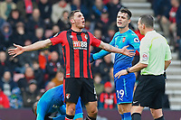 Dan Gosling of AFC Bournemouth remonstrates with Referee Kevin Friend  during AFC Bournemouth vs Arsenal, Premier League Football at the Vitality Stadium on 14th January 2018