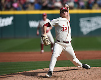 Arkansas' Zack Morris delivers a pitch against Grand Canyon University Wednesday March 11, 2020 at Baum-Walker Stadium in Fayetteville. The Hogs won 10-9. Visit nwaonline.com/200312Daily/ for more images. (NWA Democrat-Gazette/J.T. Wampler)
