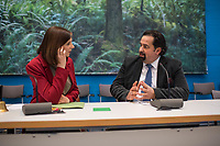 Die Fraktionsvorsitzende von Buendnis 90/Die Gruenen im Deutschen Bundestag, Katrin Goering-Eckardt (rechts im Bild) und der Vorsitzende des Zentralrat des Muslime in Deutschland, Aiman Mazyek (links im Bild), vor der Fraktionssitzung von Buendnis 90/Die Gruenen.<br /> Aiman Mazyek wurde von der Fraktion eingeladen, um ueber die Situation der muslimischen Gemeinden in Deutschland nach den vermehrten Angriffen auf Moscheen und den Aeusserungen von Innen- und Heimatminister Horst Seehofer, &quot;der Islam gehoere nicht zu Deutschland&quot;, zu berichten.<br /> 20.3.2018, Berlin<br /> Copyright: Christian-Ditsch.de<br /> [Inhaltsveraendernde Manipulation des Fotos nur nach ausdruecklicher Genehmigung des Fotografen. Vereinbarungen ueber Abtretung von Persoenlichkeitsrechten/Model Release der abgebildeten Person/Personen liegen nicht vor. NO MODEL RELEASE! Nur fuer Redaktionelle Zwecke. Don't publish without copyright Christian-Ditsch.de, Veroeffentlichung nur mit Fotografennennung, sowie gegen Honorar, MwSt. und Beleg. Konto: I N G - D i B a, IBAN DE58500105175400192269, BIC INGDDEFFXXX, Kontakt: post@christian-ditsch.de<br /> Bei der Bearbeitung der Dateiinformationen darf die Urheberkennzeichnung in den EXIF- und  IPTC-Daten nicht entfernt werden, diese sind in digitalen Medien nach &sect;95c UrhG rechtlich geschuetzt. Der Urhebervermerk wird gemaess &sect;13 UrhG verlangt.]