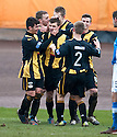 Berwick's Fraser McLaren (7) is congratulated after he scored their and his third goal.