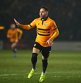 5th February 2019, Rodney Parade, Newport, Wales; FA Cup football, 4th round replay, Newport County versus Middlesbrough; Robbie Willmott of Newport County celebrates after his goal put Newport County 1-0 up in the 47th minute