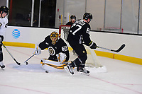 September 15, 2017: Boston Bruins goalie Anton Khudobin (35) makes a save during the Boston Bruins training camp held at Warrior Ice Arena in Brighton, Massachusetts. Eric Canha/CSM