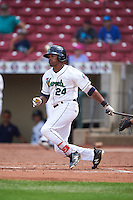 Cedar Rapids Kernels right fielder Jaylin Davis (24) at bat during a game against the Dayton Dragons on July 24, 2016 at Perfect Game Field in Cedar Rapids, Iowa.  Cedar Rapids defeated Dayton 10-6.  (Mike Janes/Four Seam Images)