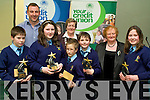 Runners up in the U13 section of the Credit Union Chapter 23 Quiz held in the ITT North Campus on Sunday afternoon representing St. Oliver's NS Killarney were Cathal Dineen, Charlotte Leane, Cian O'Sullivan, Oisi?n Treacey and Deidre Sheahan with teachers Rory Darcy & Margaret O'Shea and Vice Chair of Chapter 23 Mary O'Shea................................................................................................................................................ ............