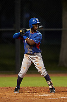 AZL Rangers Keithron Moss (3) at bat during an Arizona League game against the AZL Dodgers Mota at Camelback Ranch on June 18, 2019 in Glendale, Arizona. AZL Dodgers Mota defeated AZL Rangers 13-4. (Zachary Lucy/Four Seam Images)