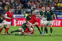 27th October 2019, Oita, Japan;  Alun Wyn Jones of Wales loses contact with the ball in the tackle during the 2019 Rugby World Cup semi-final match between Wales and South Africa at International Stadium Yokohama in Kanagawa, Japan on October 27, 2019.  - Editorial Use