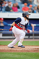 Syracuse Chiefs center fielder Jaff Decker (8) follows through on a swing during a game against the Scranton/Wilkes-Barre RailRiders on June 14, 2018 at NBT Bank Stadium in Syracuse, New York.  Scranton/Wilkes-Barre defeated Syracuse 9-5.  (Mike Janes/Four Seam Images)