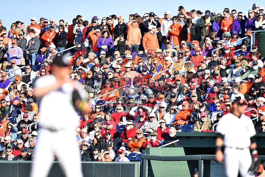 Fans pack the stands in the Reedy River Rivalry game between Clemson and South Carolina on Saturday, March 4, 2017, at Fluor Field at the West End in Greenville, South Carolina. Clemson won, 8-7. (Tom Priddy/Four Seam Images)