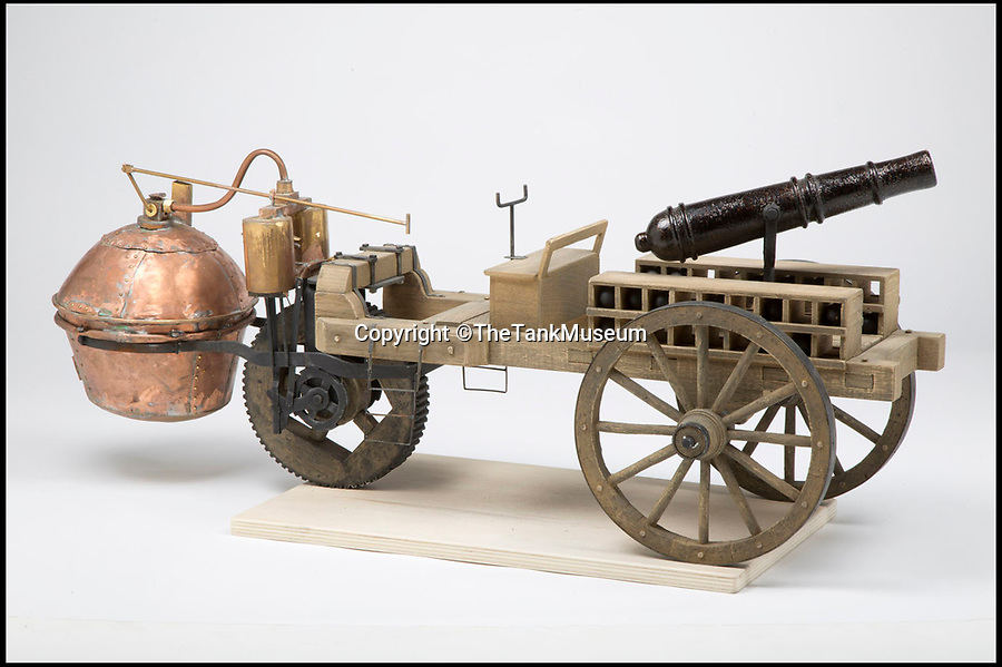 BNPS.co.uk (01202 558833)Pic: TheTankMuseum/BNPS<br /> <br /> The steam designed by Frenchman Nicolas Joseph Cugnot. The French army commissioned it in 1769 but the engine was too heavy.<br /> <br /> Tanks from the Memories...<br /> <br /> A museum has recreated some of the evolutionary dead ends dreamt up before the modern Tank was finally invented during WW1.<br /> <br /> Accurate models of the weird and wonderful creations that date as far back as 3,000 years ago will form part of a new exhibition at The Tank Museum in Bovington, Dorset.<br /> <br /> Tanks as we know them rolled onto the battlefield in 1916 during World War One.<br /> <br /> But among the models recreated is one designed by ancient Assyrians from 9th century BC, which was an early siege vehicle – a battering ram with armour and a protruding weapon.