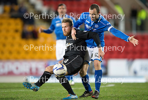 St Johnstone v Motherwell....25.02.14    SPFL<br /> Henri Anier and Dave Mackay<br /> Picture by Graeme Hart.<br /> Copyright Perthshire Picture Agency<br /> Tel: 01738 623350  Mobile: 07990 594431