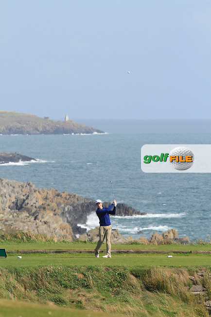 Ted Collins (Dun Laoghaire) on the 2nd tee during Round 2 of the Irish Youths Amateur Close Championship in Ardglass Golf Club on Thursday 28th August 2014.<br /> Picture:  Thos Caffrey / www.golffile.ie