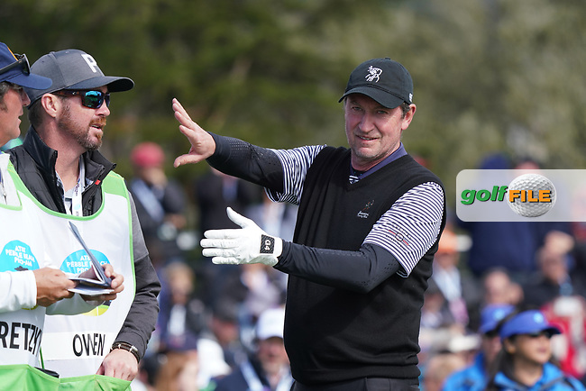 Former NHL Ice Hockey Star Wayne Gretzky in action during the third round of the AT&T Pro-Am, Pebble Beach, Monterey, California, USA. 07/02/2020<br /> Picture: Golffile | Phil Inglis<br /> <br /> <br /> All photo usage must carry mandatory copyright credit (© Golffile | Phil Inglis)