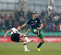3rd November 2019; Aviva Stadium, Dublin, Leinster, Ireland; FAI Cup Final Football, Dundalk Football Club versus Shamrock Rovers; Michael Duffy (Dundalk) plays the ball forward under pressure from Joey O'Brien (Shamrock Rovers)