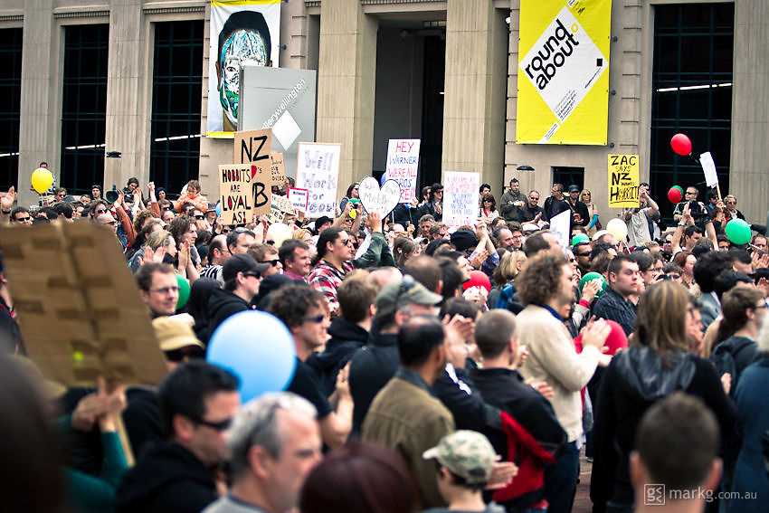 Positive vibes all around...<br /> <br /> Around 1000 supporters attended The Hobbit Rally at Civic Square in Wellington. The rally was in aid of convincing Warner Bros that The Hobbit has the support of the people of New Zealand &amp; further afield, &amp; it should be made here &amp; not go overseas.<br /> <br /> Two days after the rally it was announced by Prime Minister John Key, that talks with Warner Bros were successful &amp; The Hobbit will be filmed in New Zealand.
