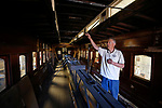 Wendell Huffman, curator of history at the Nevada Railroad Museum, in Carson City,  talks about the historic V&amp;T Coach No. 17 on Friday, June 29, 2018. The car, built in 1868, carried dignitaries and four special spikes to the ceremony at the Promontory Summit at the time the golden spike connected the transcontinental railroad. The unrestored car is expected to go on display at the museum in early 2019.  <br /> Cathleen Allison/Las Vegas Review-Journal