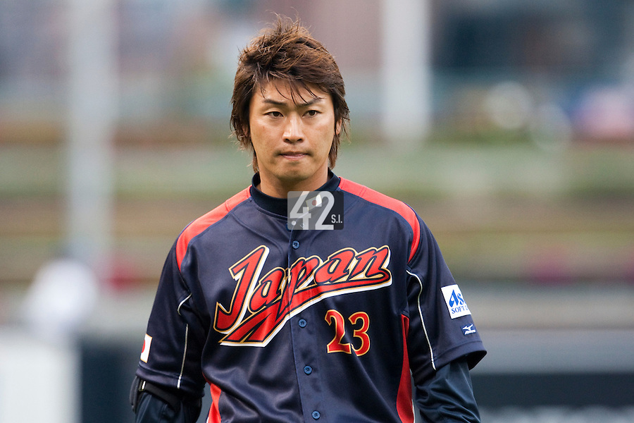 19 March 2009: #23 Norichika Aoki of Japan is seen prior to the 2009 World Baseball Classic Pool 1 game 6 at Petco Park in San Diego, California, USA. Japan wins 6-2 over Korea.