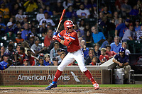 Bobby Witt, Jr. (15) of Colleyville Heritage High School in Colleyville, Texas during the Under Armour All-American Game presented by Baseball Factory on July 29, 2017 at Wrigley Field in Chicago, Illinois.  (Jon Durr/Four Seam Images)