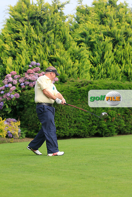 Jason Brennan (Castlecomer) on the 1st tee during the Semi-Finals of the Irish Mixed Foursomes in Warrenpoint Golf Club on Thursday 4th September 2014.<br /> Picture:  TJ Caffrey / www.golffile.ie
