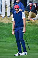 Dustin Johnson (USA) barely misses his putt on 14 during round 3 Foursomes of the 2017 President's Cup, Liberty National Golf Club, Jersey City, New Jersey, USA. 9/30/2017.<br /> Picture: Golffile | Ken Murray<br /> <br /> All photo usage must carry mandatory copyright credit (&copy; Golffile | Ken Murray)