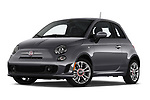 Stock pictures of low aggressive front three quarter view of 2019 Fiat 500 Pop 3 Door Hatchback Low Aggressive