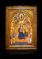 Gothic altarpiece of Madonna Of Humility With The Eternal Father In Glory, by Cenni di Francesco di Ser Cenni of Florence, circa 1375-80, tempera and gold leaf on wood. The Madonna and Child are depicted with the 12 apostles. National Museum of Catalan Art, Barcelona, Spain, inv no: MNAC  212805. Against a black background.