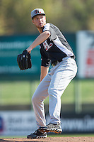 Hickory Crawdads starting pitcher Cole Wiper (16) in action against the Kannapolis Intimidators at CMC-Northeast Stadium on April 9, 2014 in Kannapolis, North Carolina.  The Intimidators defeated the Crawdads 1-0.  (Brian Westerholt/Four Seam Images)